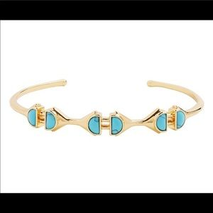 Stella & Dot turquoise stone gold cuff